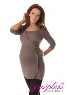 2in1 Maternity & Nursing 3/4 Sleeved Wrap Top 7035 Cappuccino