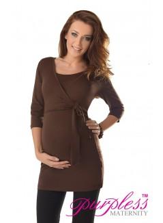 2in1 Maternity & Nursing 3/4 Sleeved Wrap Top 7035 Brown
