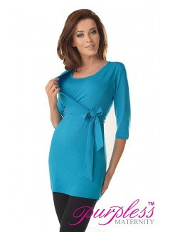 2in1 Maternity & Nursing 3/4 Sleeved Wrap Top 7035 Sky Blue