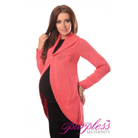 Maternity Cardigan 9004 Coral
