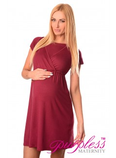 Maternity and Nursing Dress 7200 Burgundy