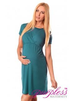 Maternity and Nursing Dress 7200 Dark Turquoise
