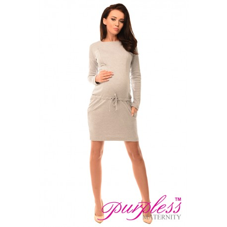 Pregnancy and Nursing Dress with Pockets 6204 Light Gray Melange