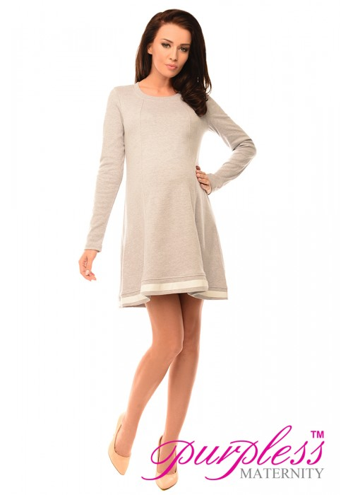 Asymmetric Pregnancy Tunic Mini Dress with Bow 6218