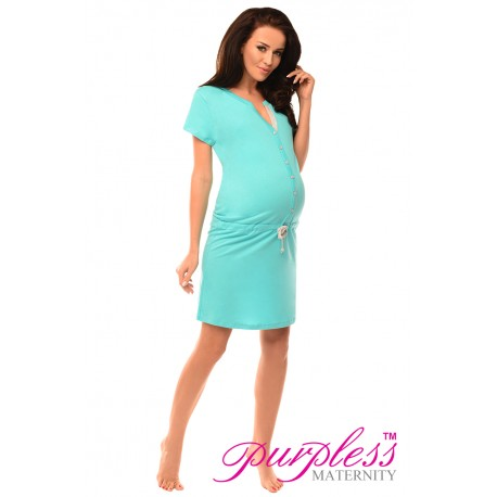 Pregnancy and Nursing Nightdress 5041n Aqua Blue