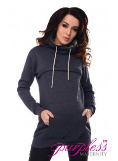 2in1 Cowl Neck Sweatshirt 9054 Navy Melange