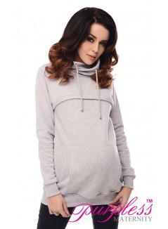 2in1 Cowl Neck Sweatshirt 9054 Light Gray Melange