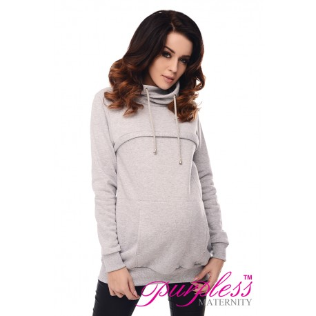 2in1 Cowl Neck Sweatshirt 9054 Light Gray Melange