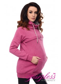 2in1 Cowl Neck Sweatshirt 9054 Dark Pink Melange
