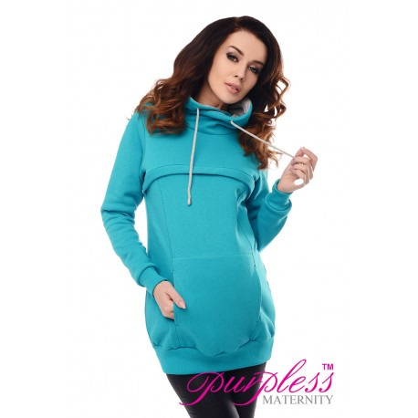 2in1 Cowl Neck Sweatshirt 9054 Turquoise