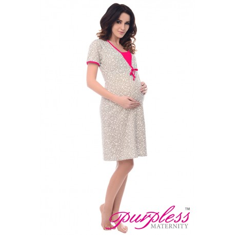 Pregnancy and Nursing Nightdress 4044n Spots Print Pink