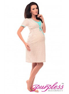 Pregnancy and Nursing Nightdress 4044n Hearts Print Mint