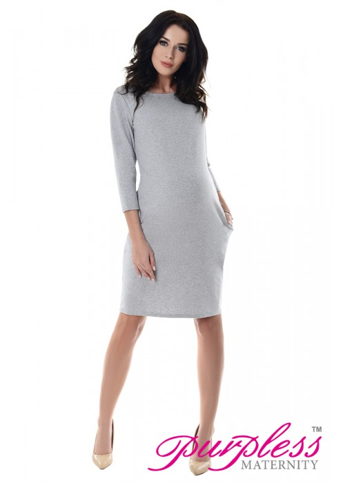 Dress with Pockets 6107 Light Gray