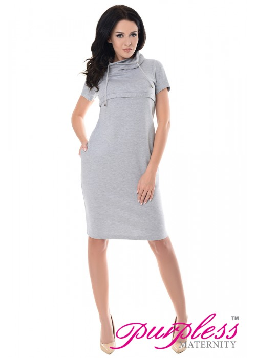 Purpless Maternity Nursing Funnel Neck Dress 6225