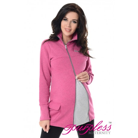 Adjustable Maternity Sweatshirt 9055 Dark Pink Melange