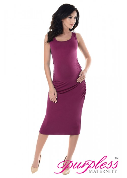 Sleeveless Jersey Midi Dress 8130 Dark Pink