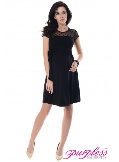 Lace Panel Dress D004 Black