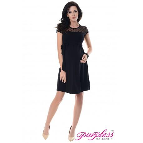 Lace Panel Dress D004 Black