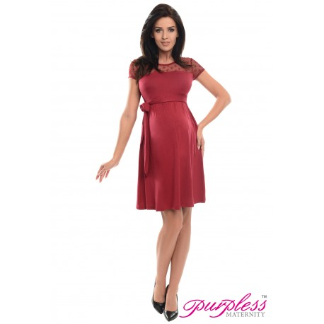 Lace Panel Dress D004 Burgundy