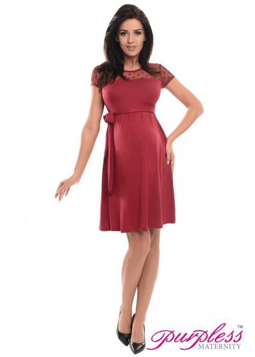 Lace Panel Dress D004 Burgundy