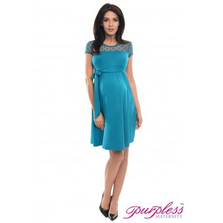 Lace Panel Dress D004 Turquoise
