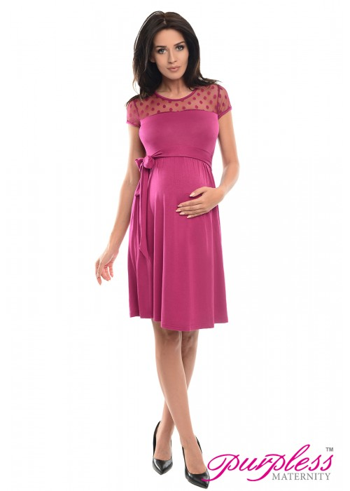Lace Panel Dress D004 Dark Pink