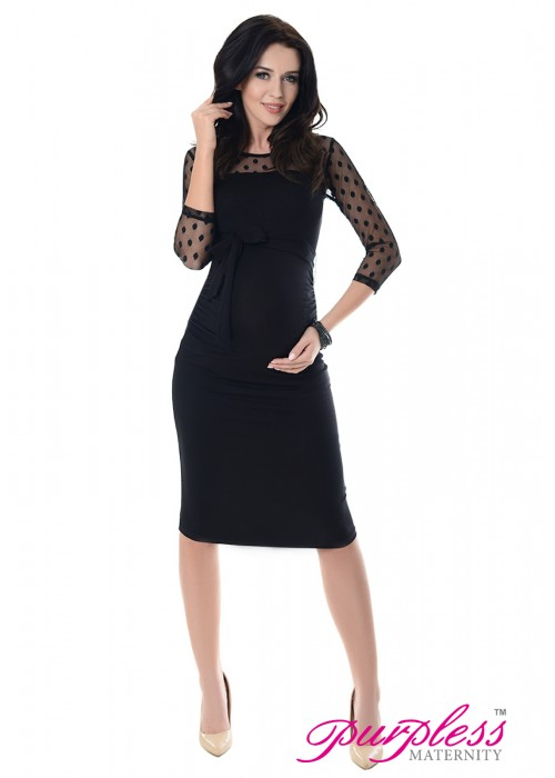 Ruched Bodycon Dress D008 Black