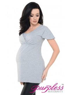 2in1 Maternity & Nursing Top 7742 Gray1 Melange