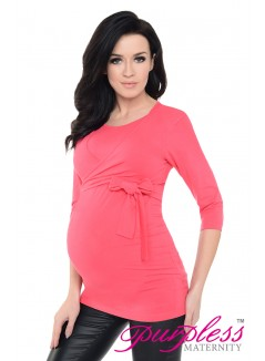 Maternity Nursing Cotton Wrap Top 7735 Raspberry