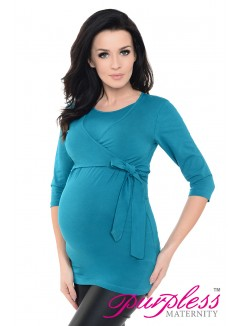 Maternity Nursing Cotton Wrap Top 7735 Dark Turquoise