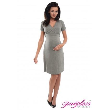 Pregnancy and Nursing Dress 7208 Dark Gray Melange