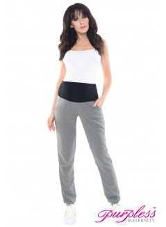 Elasticated Belly Band Trousers 1321 Dark Gray Melange
