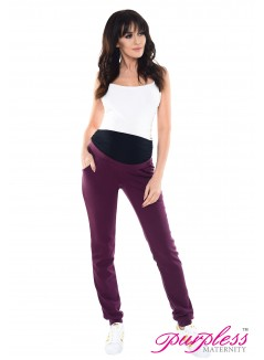 Elasticated Belly Band Trousers 1321 Plum