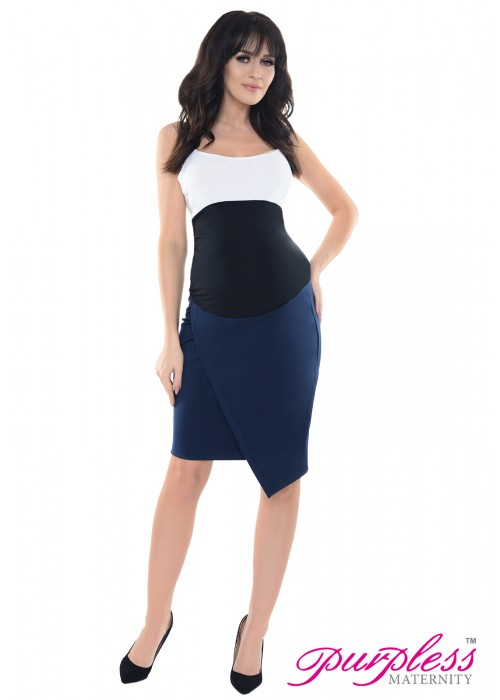 Formal Asymmetric Skirt 1508 Navy