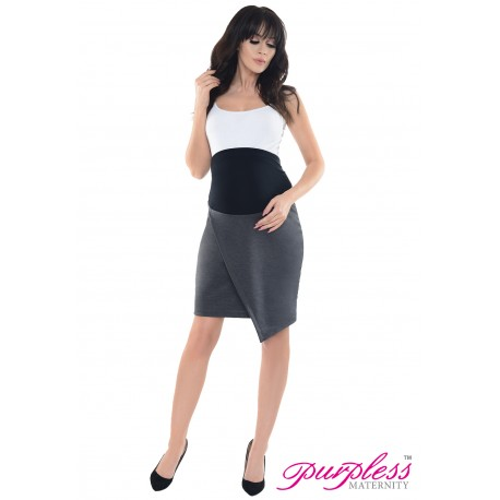 Formal Asymmetric Skirt 1508 Dark Gray