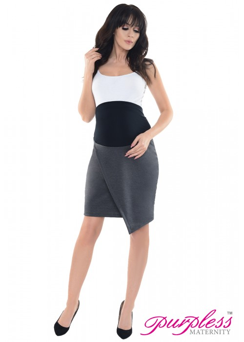 Formal Asymmetric Skirt 1508 Dark Gray