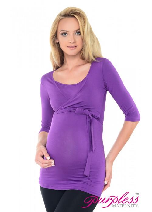 2in1 Maternity & Nursing 3/4 Sleeved Wrap Top 7035 Violet