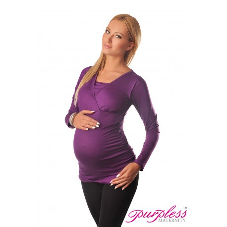 2 in 1 Maternity and Nursing Top 7007 Violet