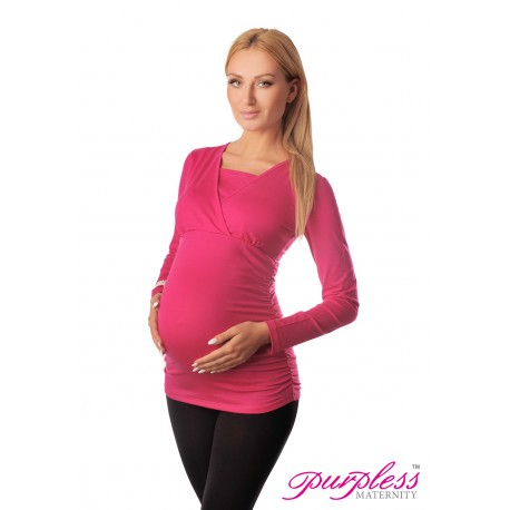 2 in 1 Maternity and Nursing Top 7007 Hot Pink