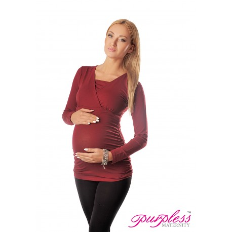 2 in 1 Maternity and Nursing Top 7007 Burgundy