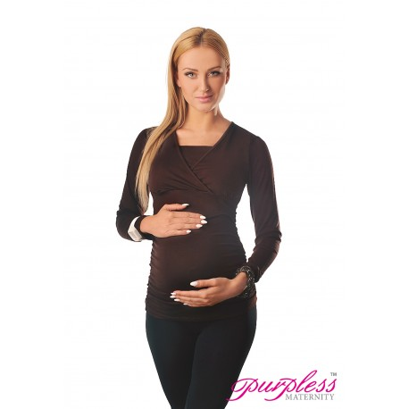 2 in 1 Maternity and Nursing Top 7007 Brown