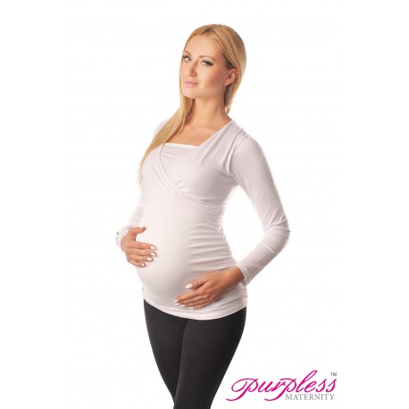 2 in 1 Maternity and Nursing Top 7007 White