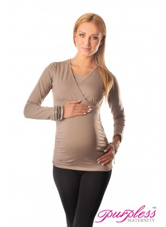 2 in 1 Maternity and Nursing Top 7007 Cappuccino