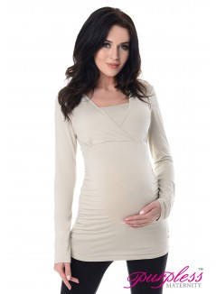 2 in 1 Maternity and Nursing Top 7007 Beige