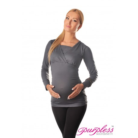 2 in 1 Maternity and Nursing Top 7007 Army Gray