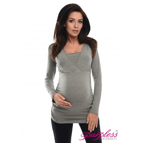 2 in 1 Maternity and Nursing Top 7007 Dark Gray Melange