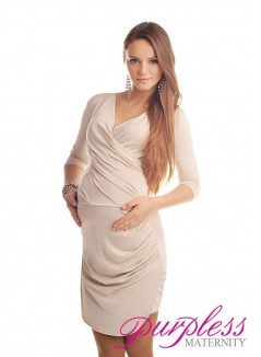 Ruched Side Dress 6408 Beige
