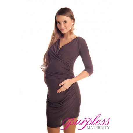 Ruched Side Dress 6408 Brown