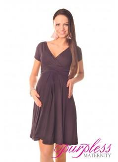 Short Sleeve Summer Dress 8417 Brown