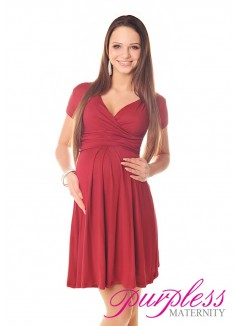 Short Sleeve Summer Dress 8417 Burgundy